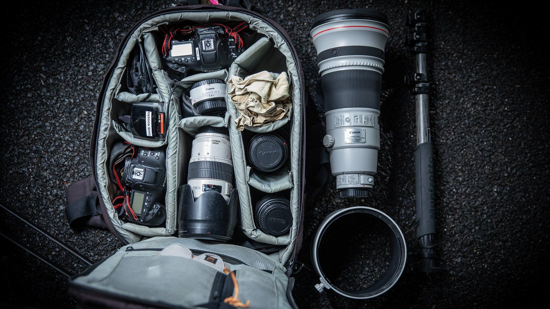 Dave Rogers' kitbag containing two Canon DSLR bodies and a number of lenses.